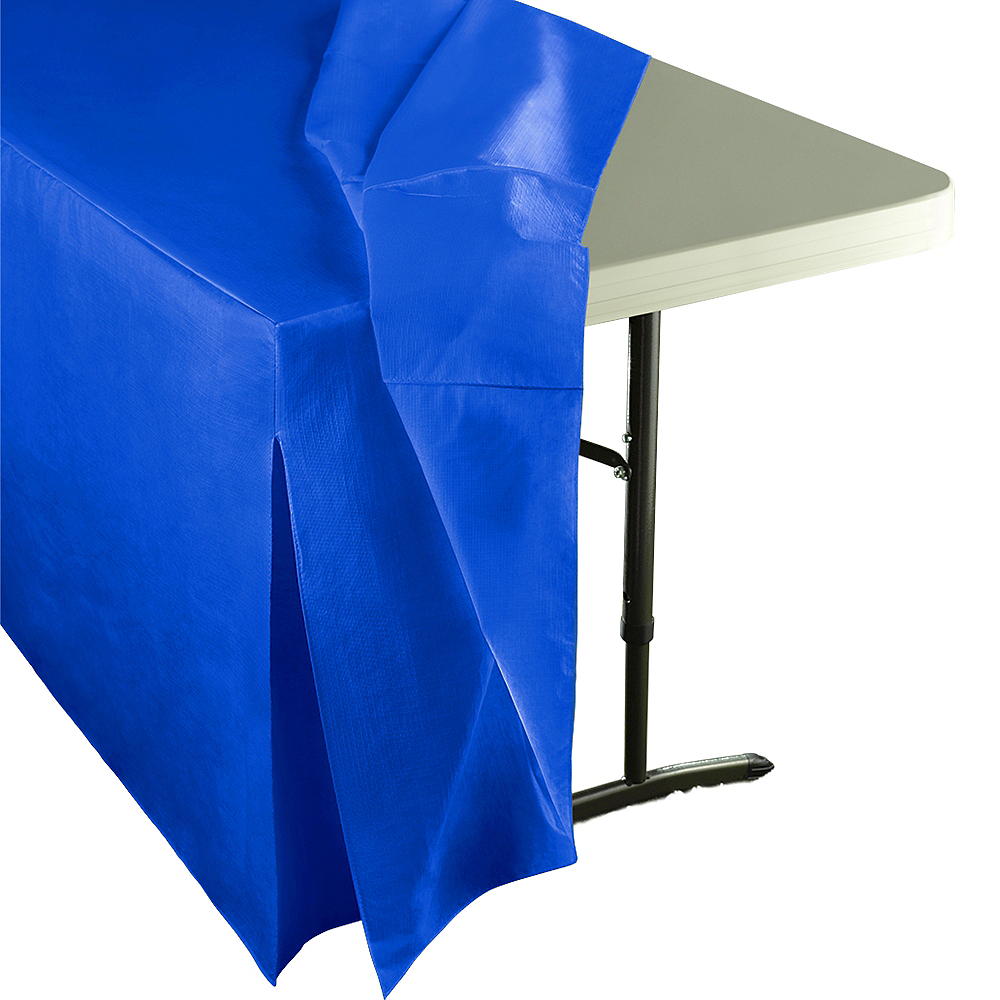 Royal Blue Flannel-Backed Vinyl Fitted Table Cover Image #2