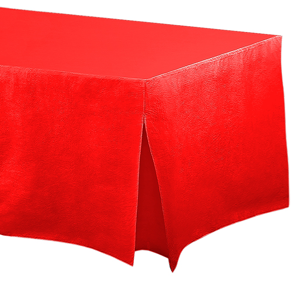 Red Flannel-Backed Vinyl Fitted Table Cover Image #1