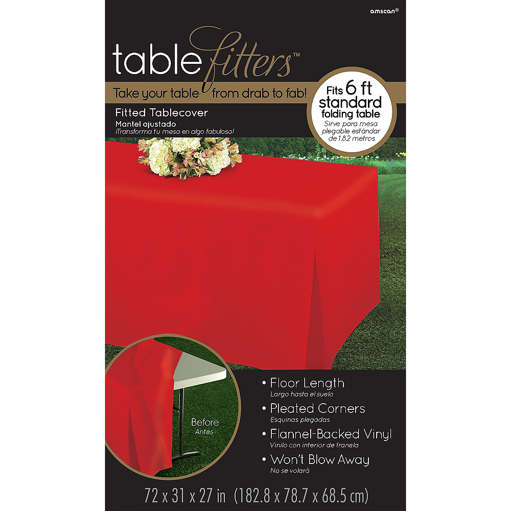 Red Flannel-Backed Vinyl Fitted Table Cover Image #3