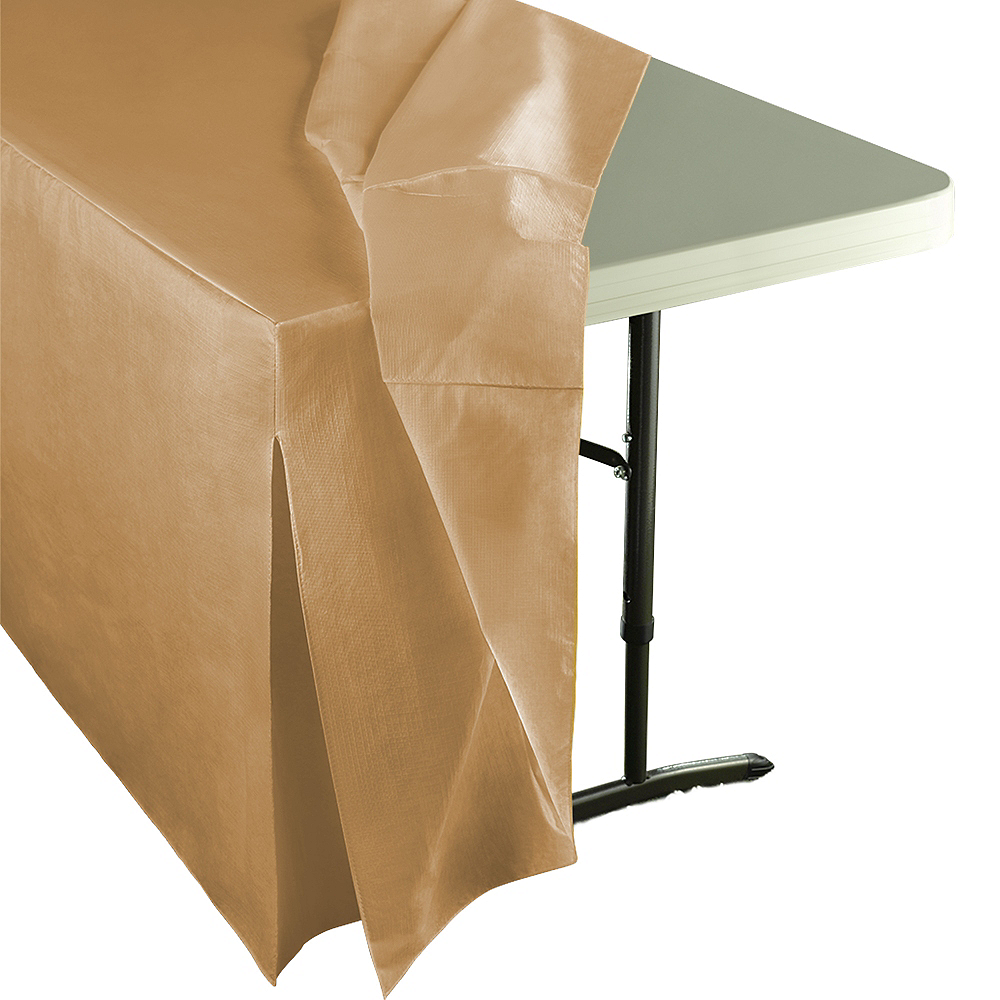 Gold Flannel-Backed Vinyl Fitted Table Cover Image #2