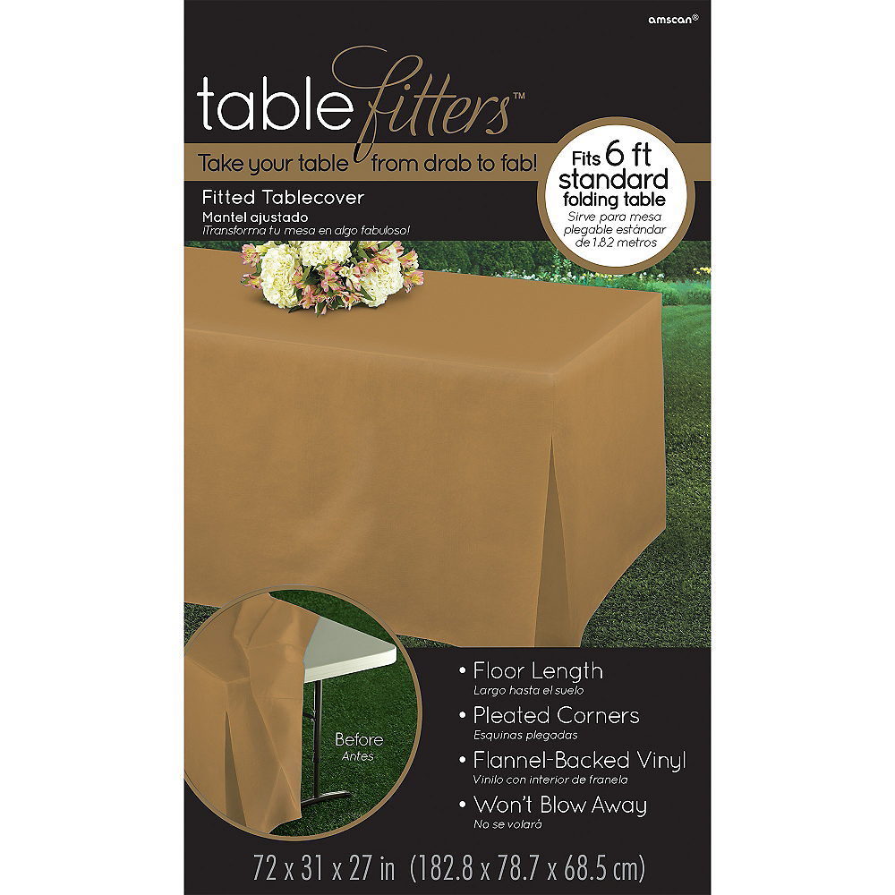 Gold Flannel-Backed Vinyl Fitted Table Cover Image #3