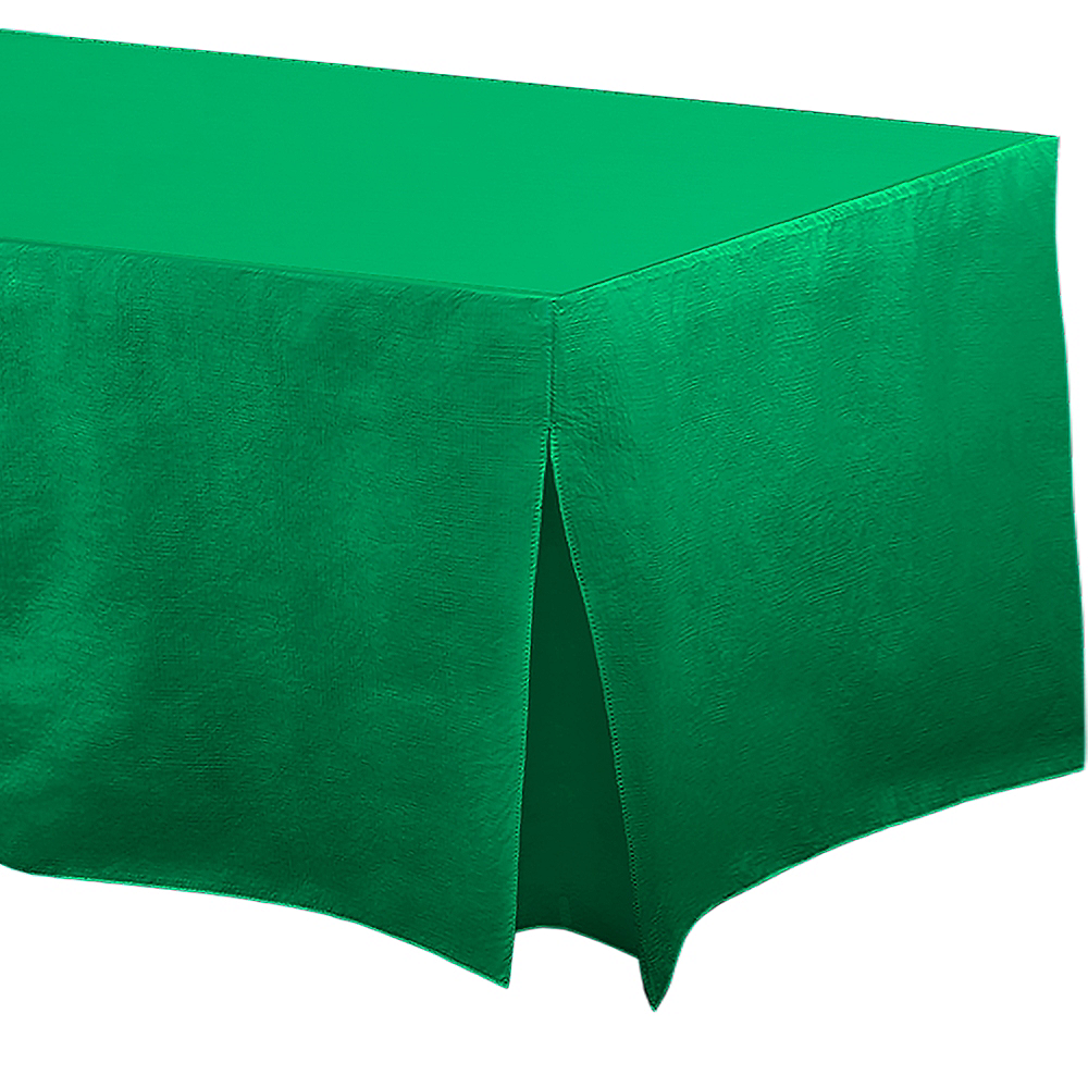 Festive Green Flannel-Backed Vinyl Fitted Table Cover Image #1