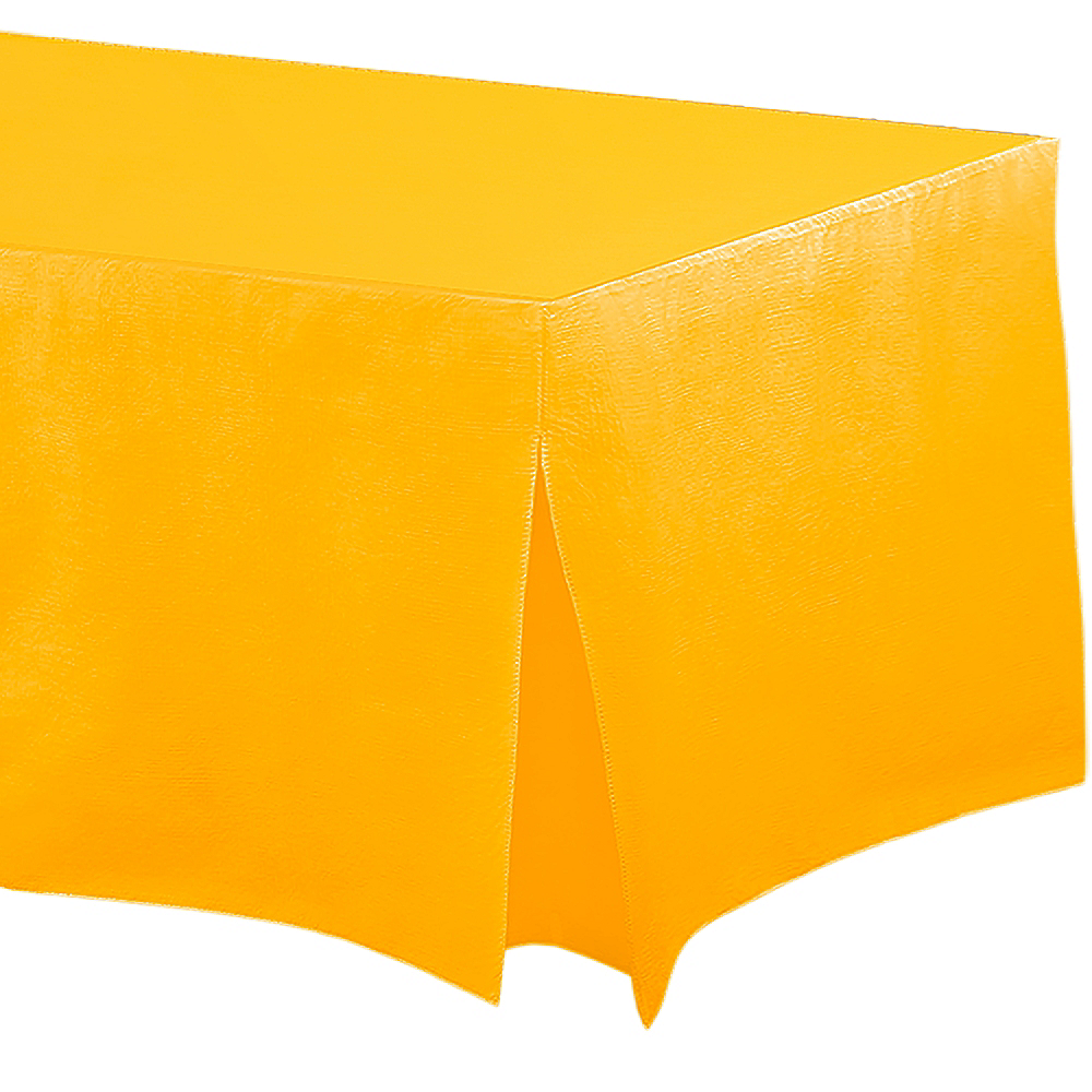 Sunshine Yellow Flannel-Backed Vinyl Fitted Table Cover Image #1