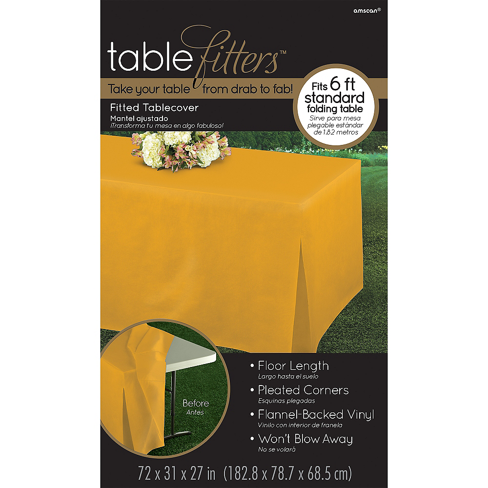 Sunshine Yellow Flannel-Backed Vinyl Fitted Table Cover Image #3