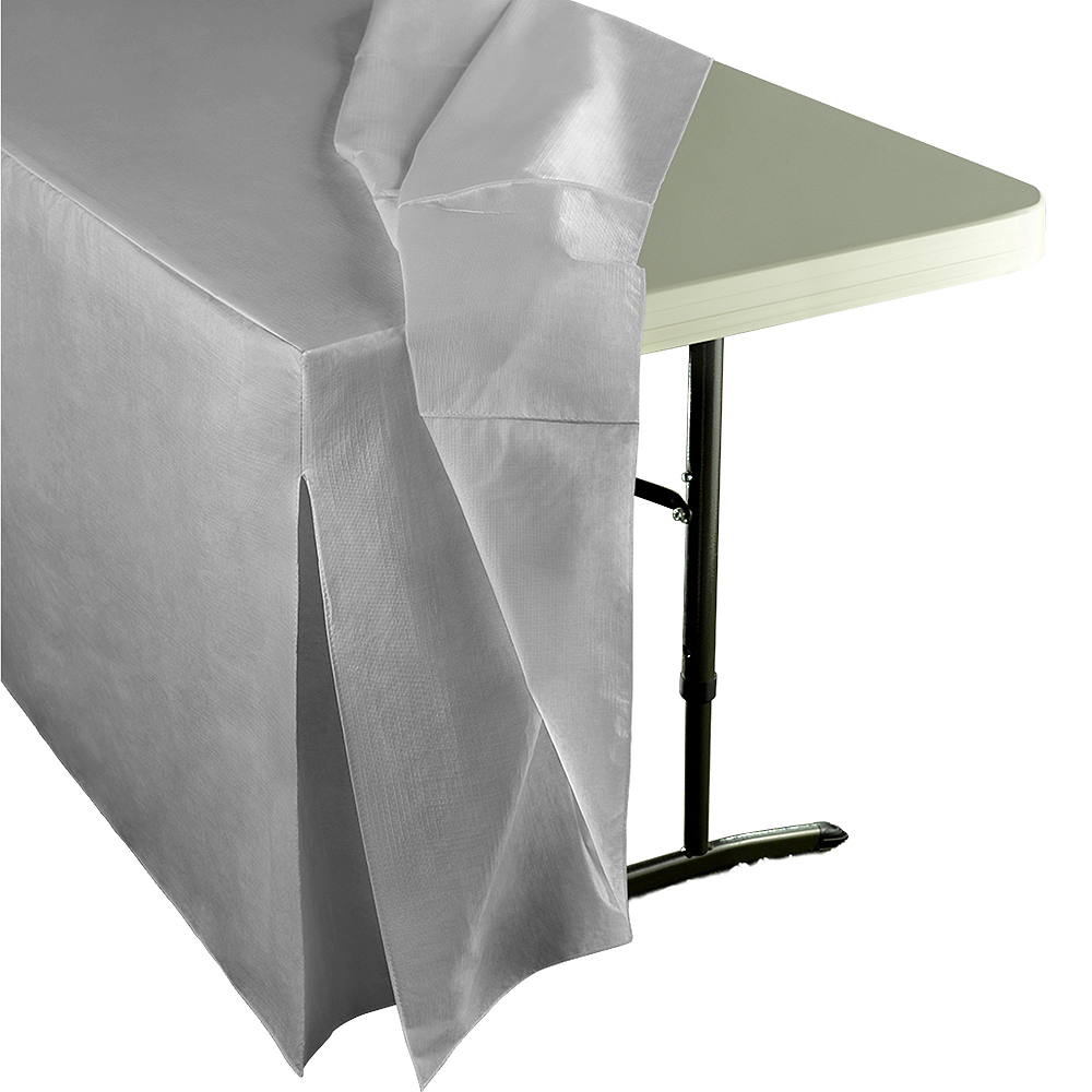 Silver Flannel-Backed Vinyl Fitted Table Cover Image #2