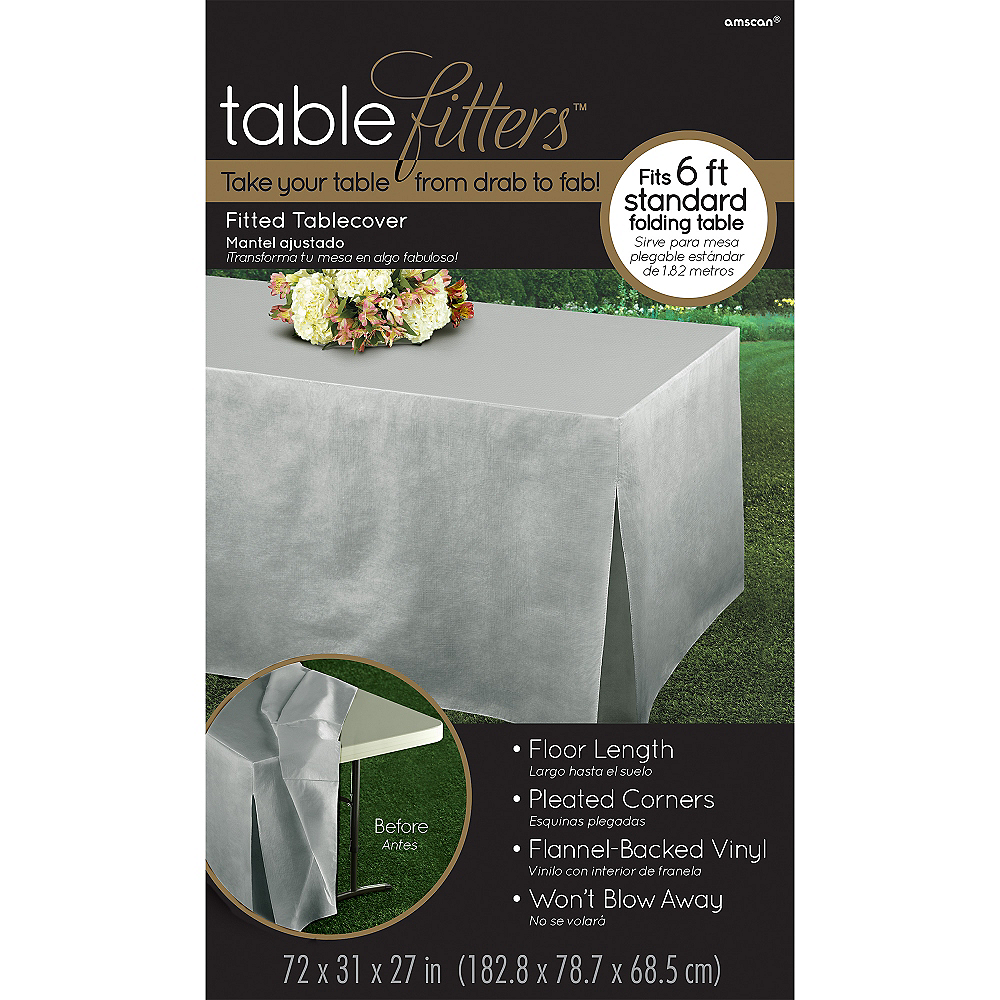 Silver Flannel-Backed Vinyl Fitted Table Cover Image #3
