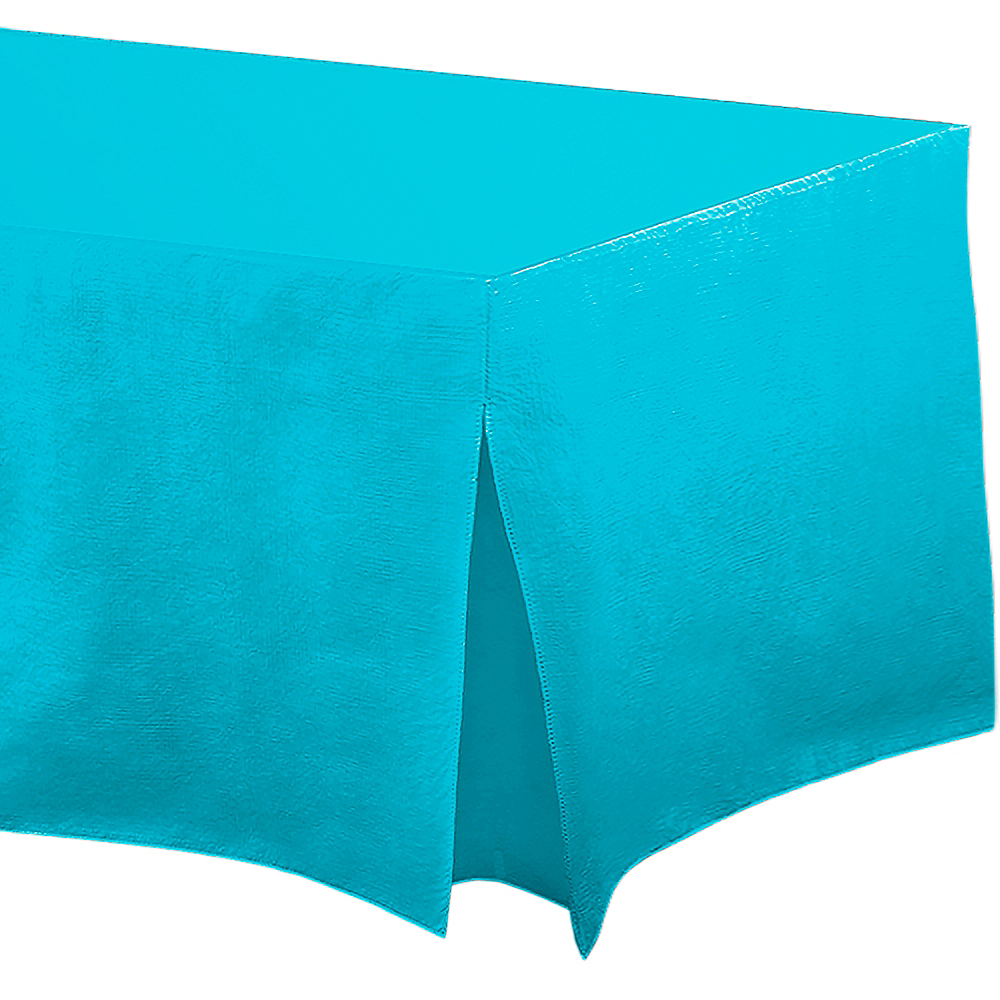 Caribbean Blue Flannel-Backed Vinyl Fitted Table Cover Image #1