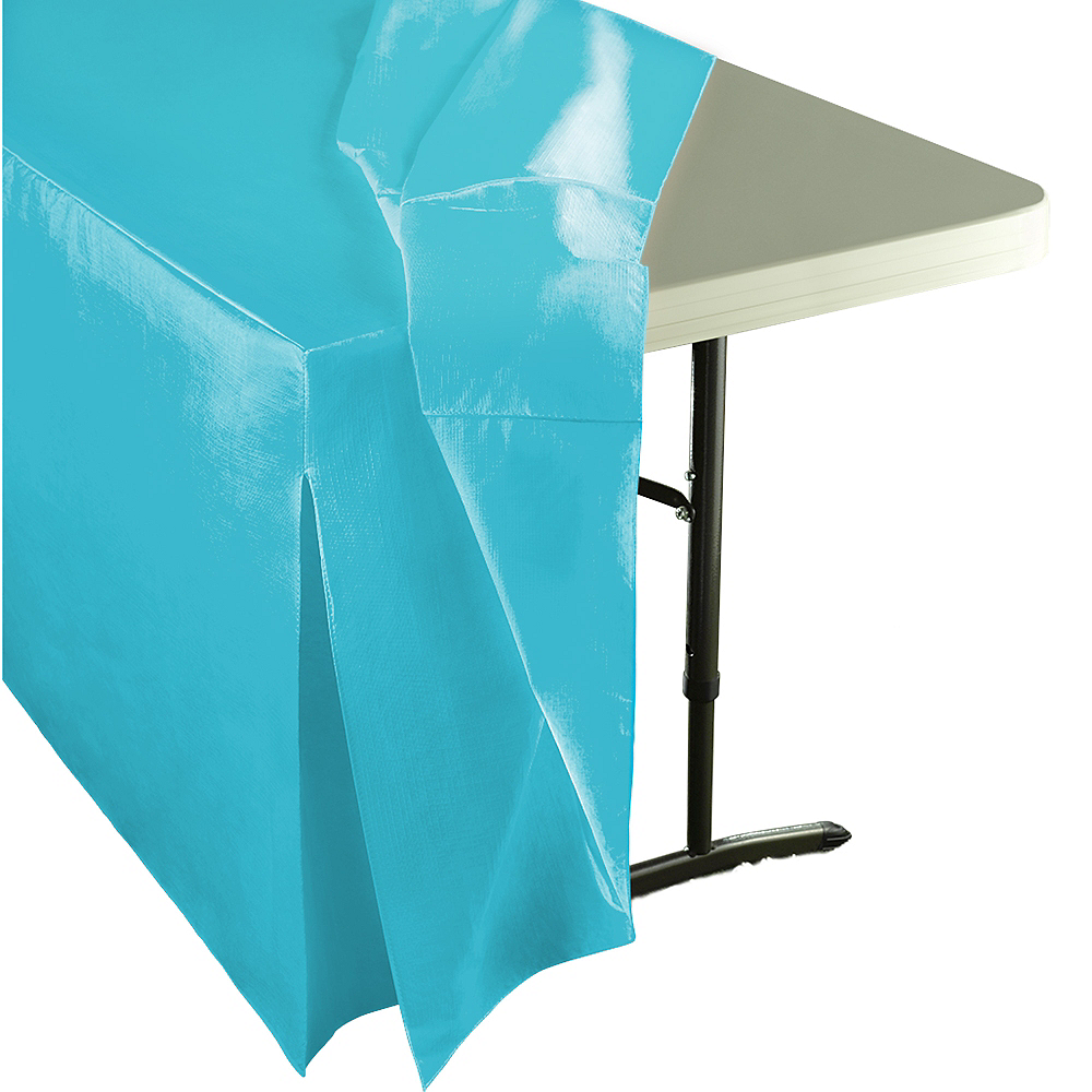 Caribbean Blue Flannel-Backed Vinyl Fitted Table Cover Image #2