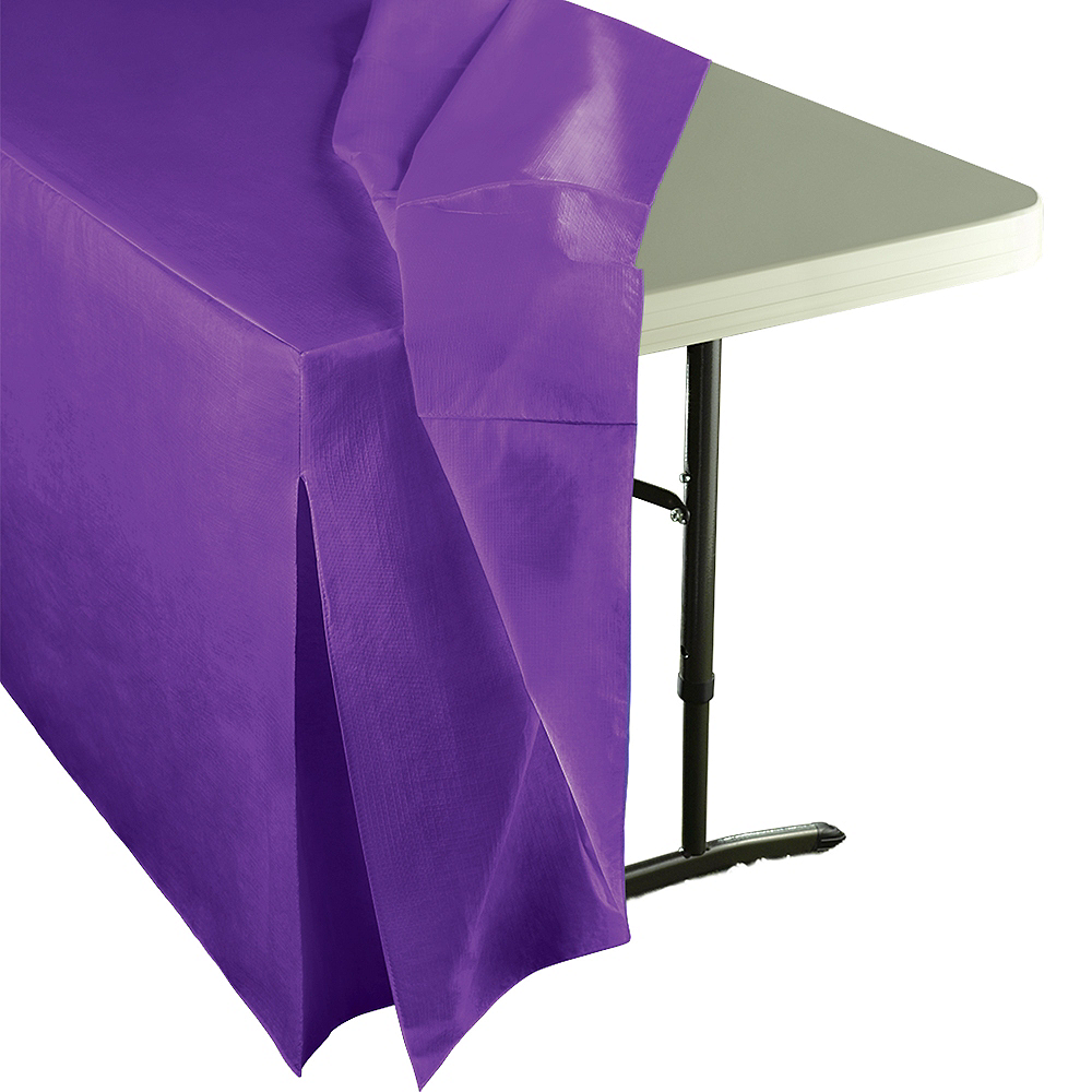 Purple Flannel-Backed Vinyl Fitted Table Cover Image #2