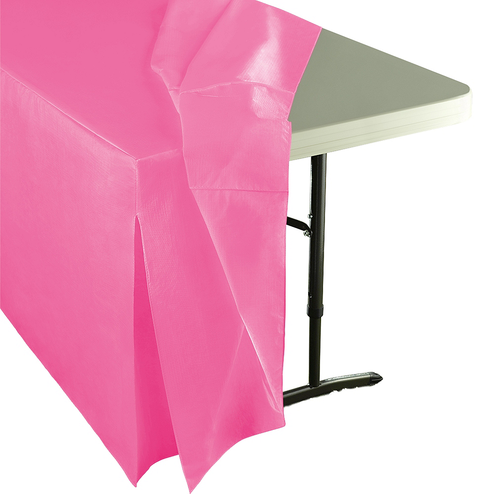 Bright Pink Flannel-Backed Vinyl Fitted Table Cover Image #2