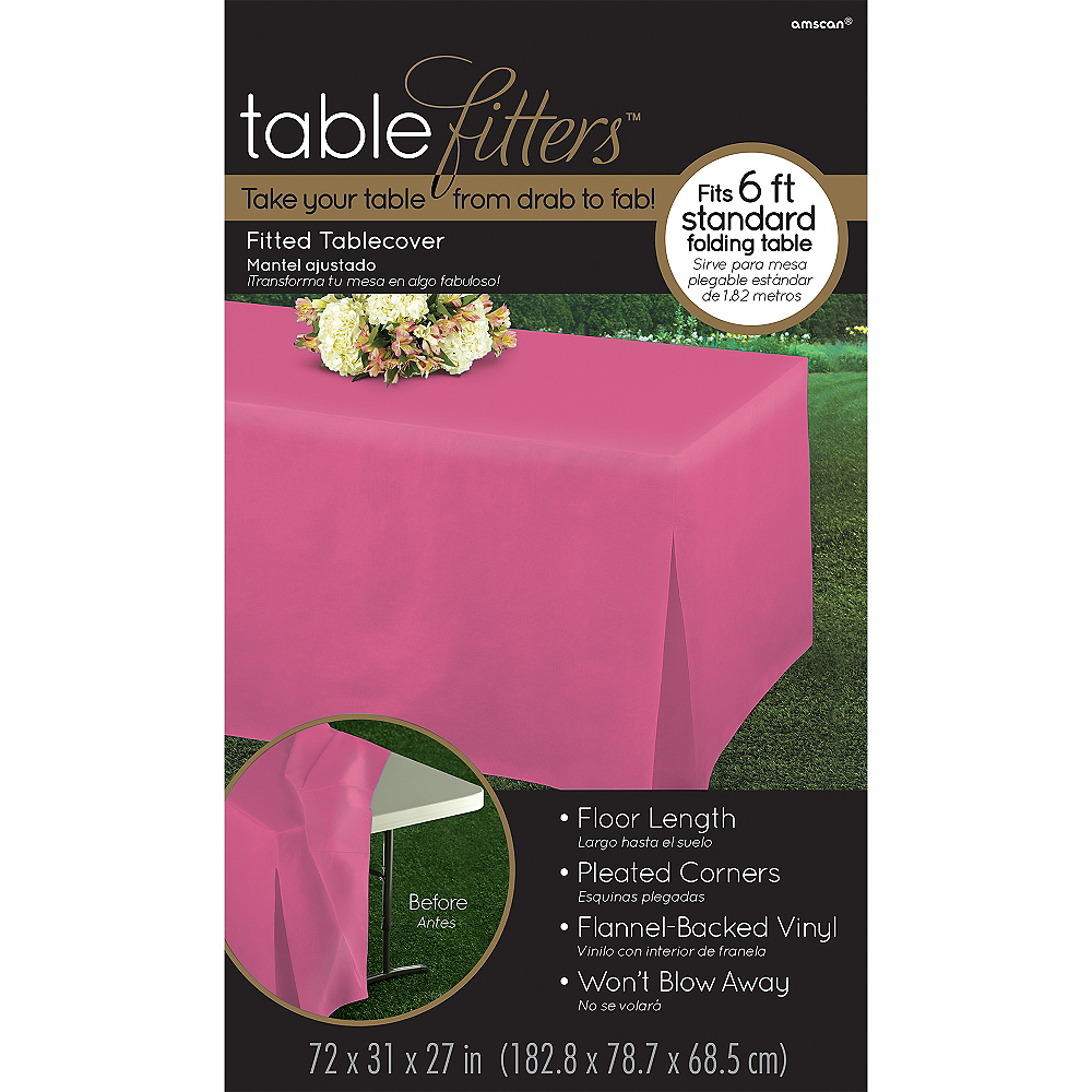 Bright Pink Flannel-Backed Vinyl Fitted Table Cover Image #3