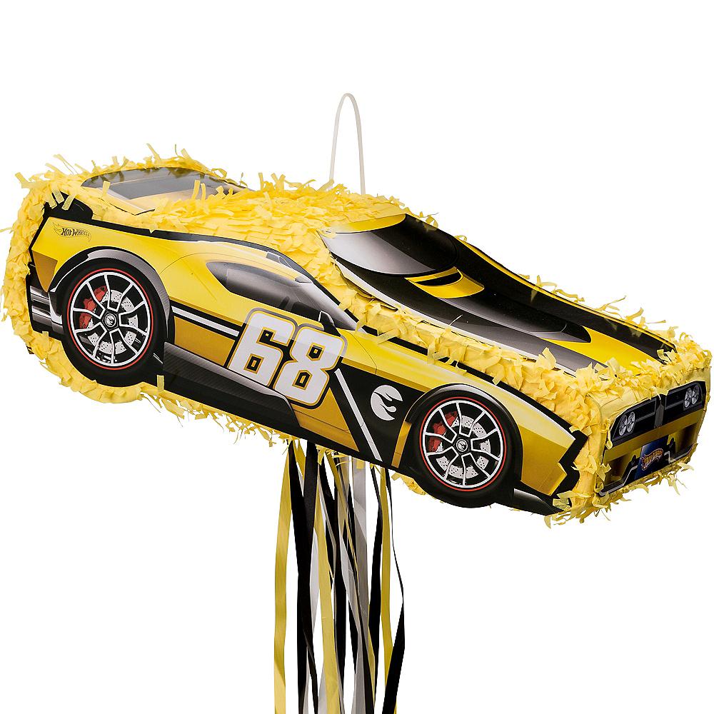 Pull String Yellow Race Car Pinata - Hot Wheels Image #1