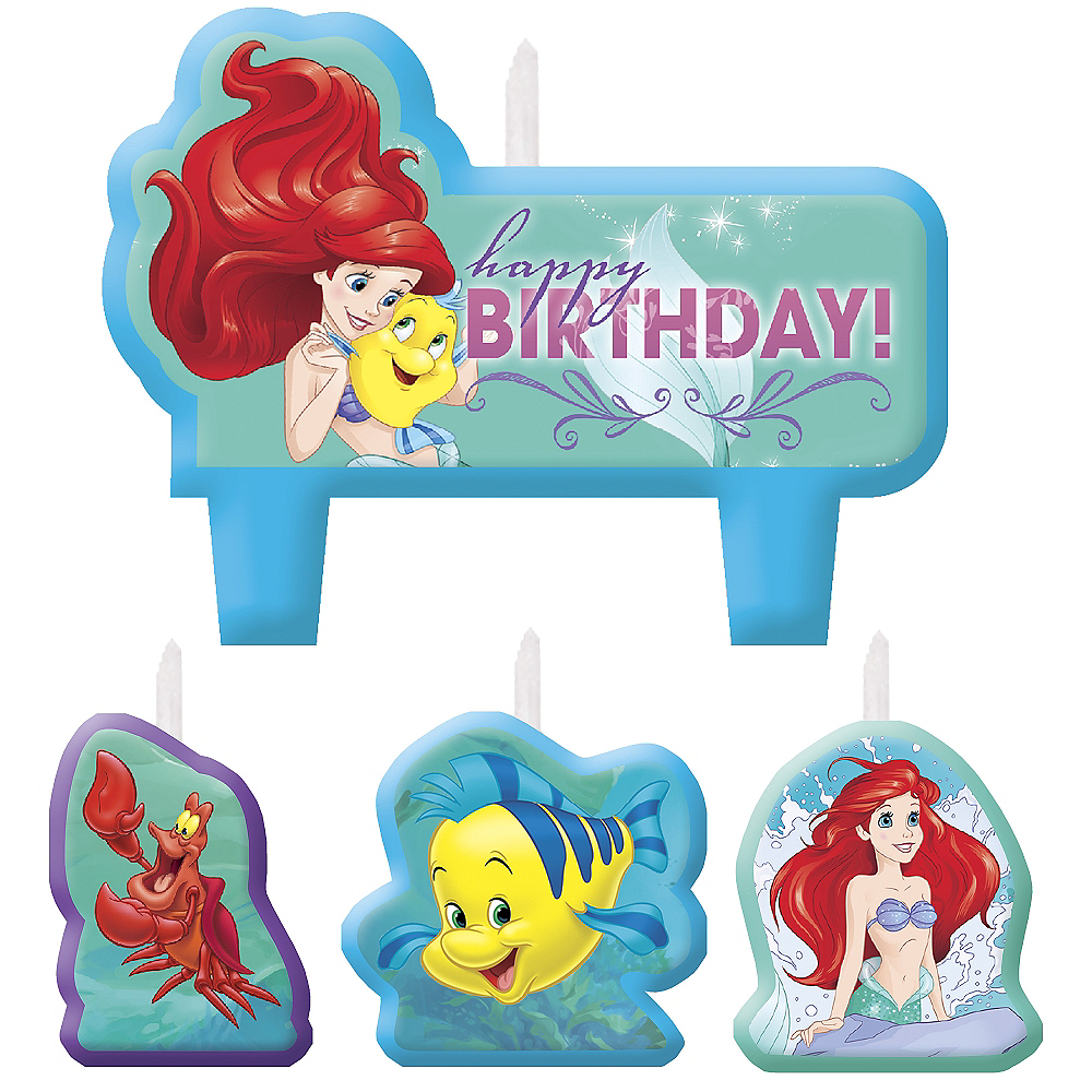 Little Mermaid Birthday Candles 4ct Image #1