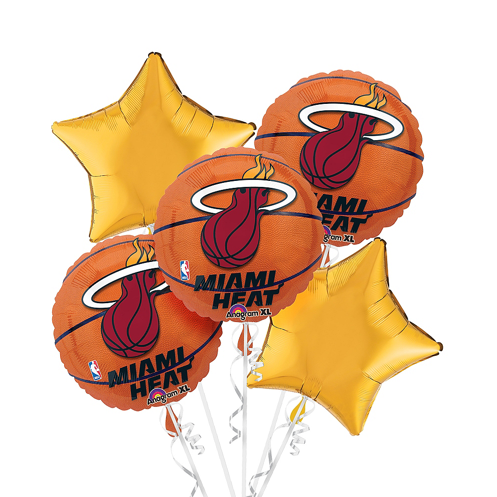 Miami Heat Balloon Bouquet 5pc - Basketball Image #1