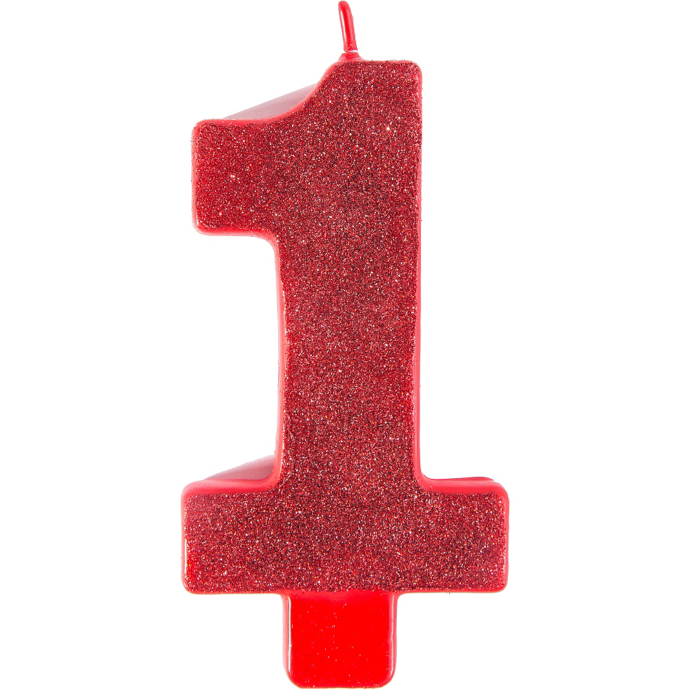 Giant Glitter Red Number 1 Birthday Candle Image