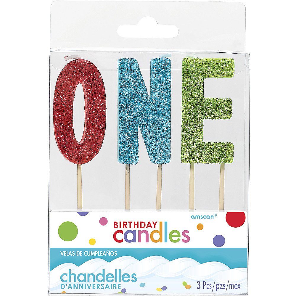 Glitter Multicolor One Birthday Toothpick Candle Set 3pc Image #1