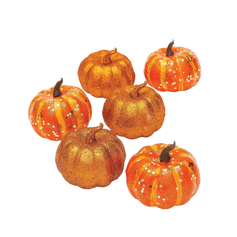 Glitter Mini Pumpkins 6ct Image #1
