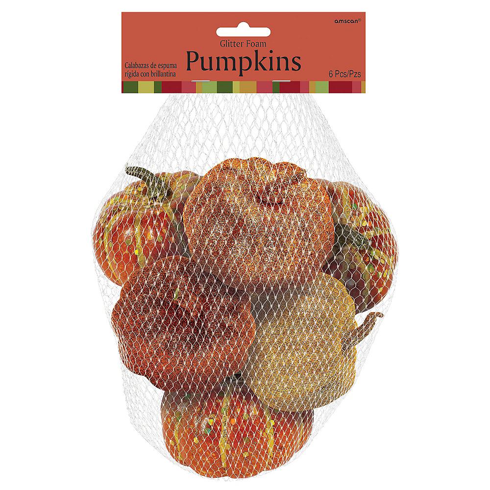 Glitter Mini Pumpkins 6ct Image #2