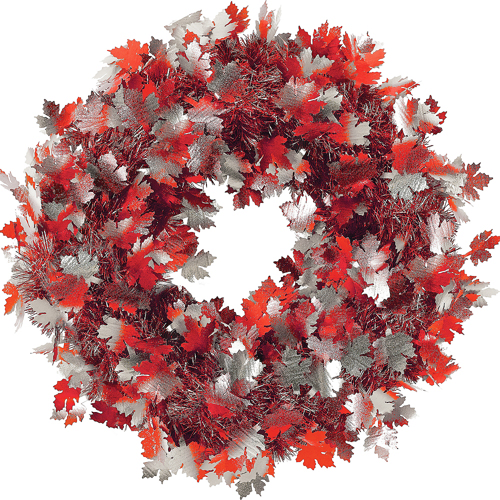 Fall Leaves Tinsel Wreath Image #1