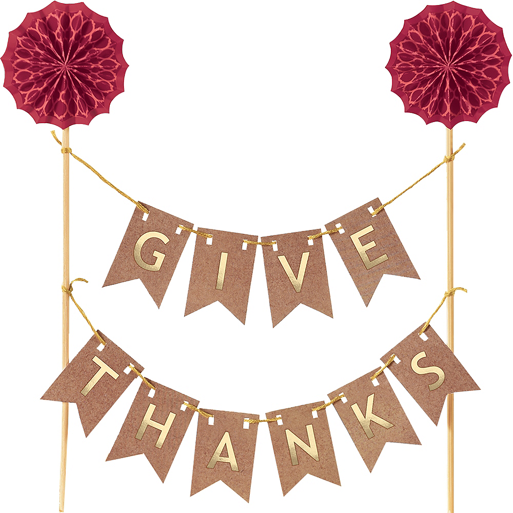Give Thanks Pennant Banner Cake Topper Image #1