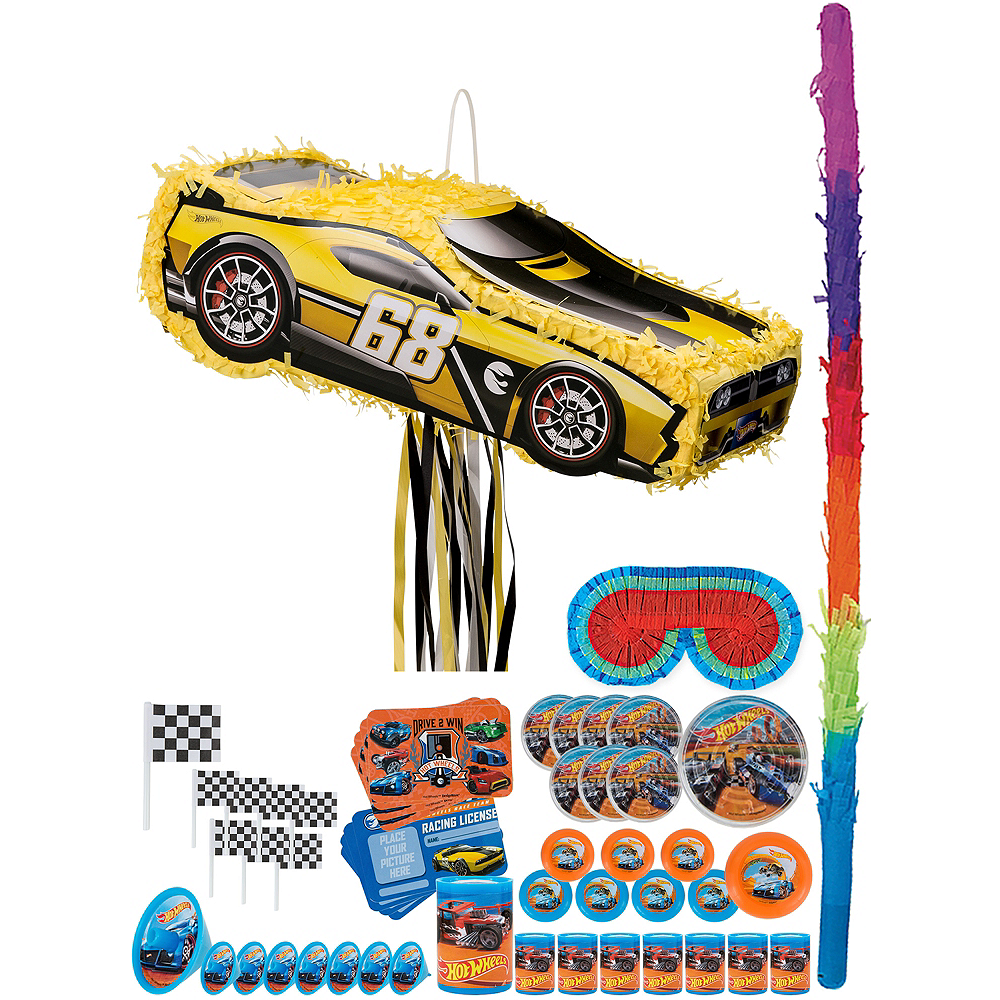 Nav Item for Yellow Race Car Pinata Kit with Favors - Hot Wheels Image #1