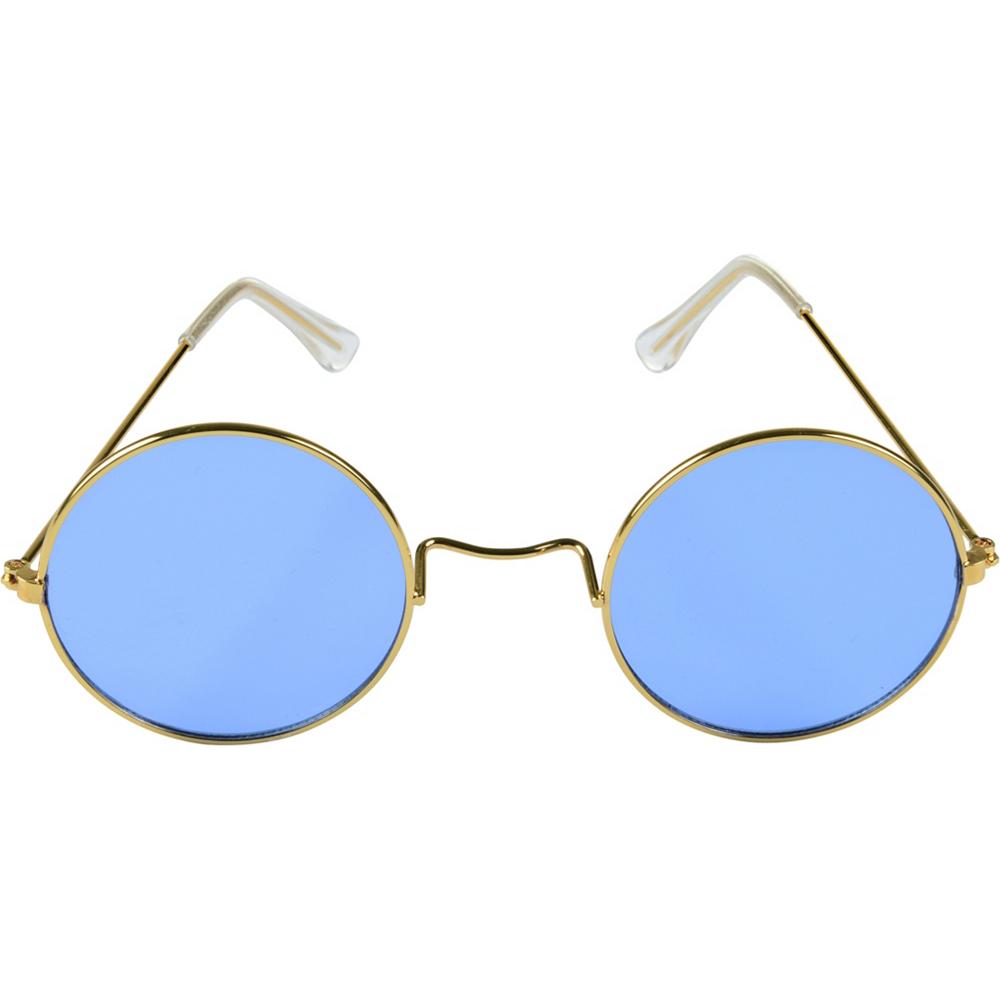 ee06e64dd 4 3/4in x 1 3/4in Metal & Plastic Accessory. Blue Round Sunglasses Image #1  ...