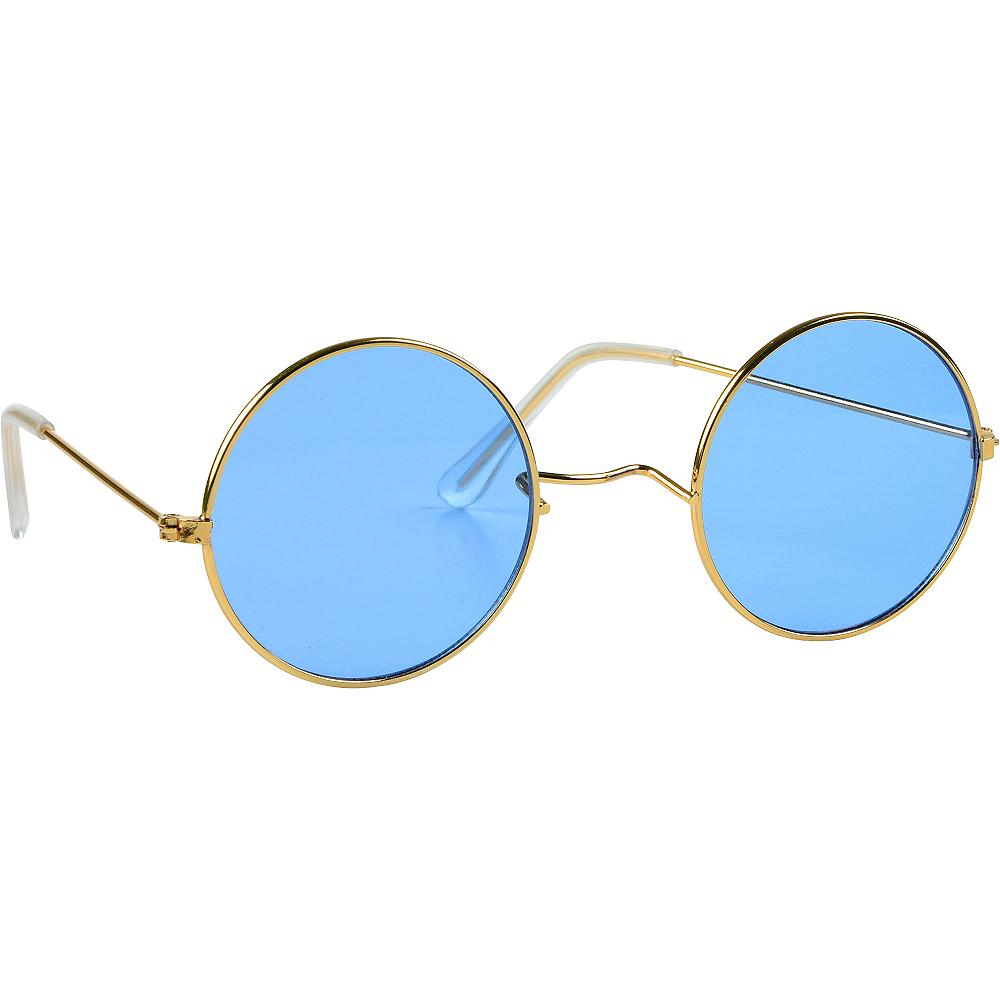 c60936106 4 3/4in x 1 3/4in Metal & Plastic Accessory. Blue Round Sunglasses Image #1;  Blue Round Sunglasses Image #2 ...