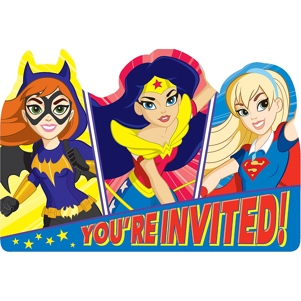 DC Super Hero Girls Invitations 8ct Image 1