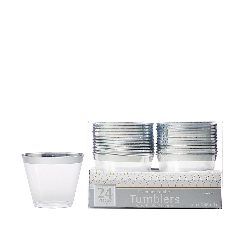Nav Item for CLEAR Silver-Trimmed Premium Plastic Cups 24ct Image #1