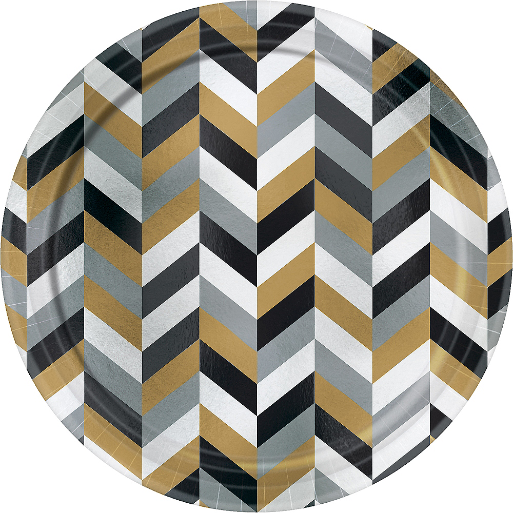 Metallic Black, Gold & Silver Herringbone Dinner Plates 8ct Image #1