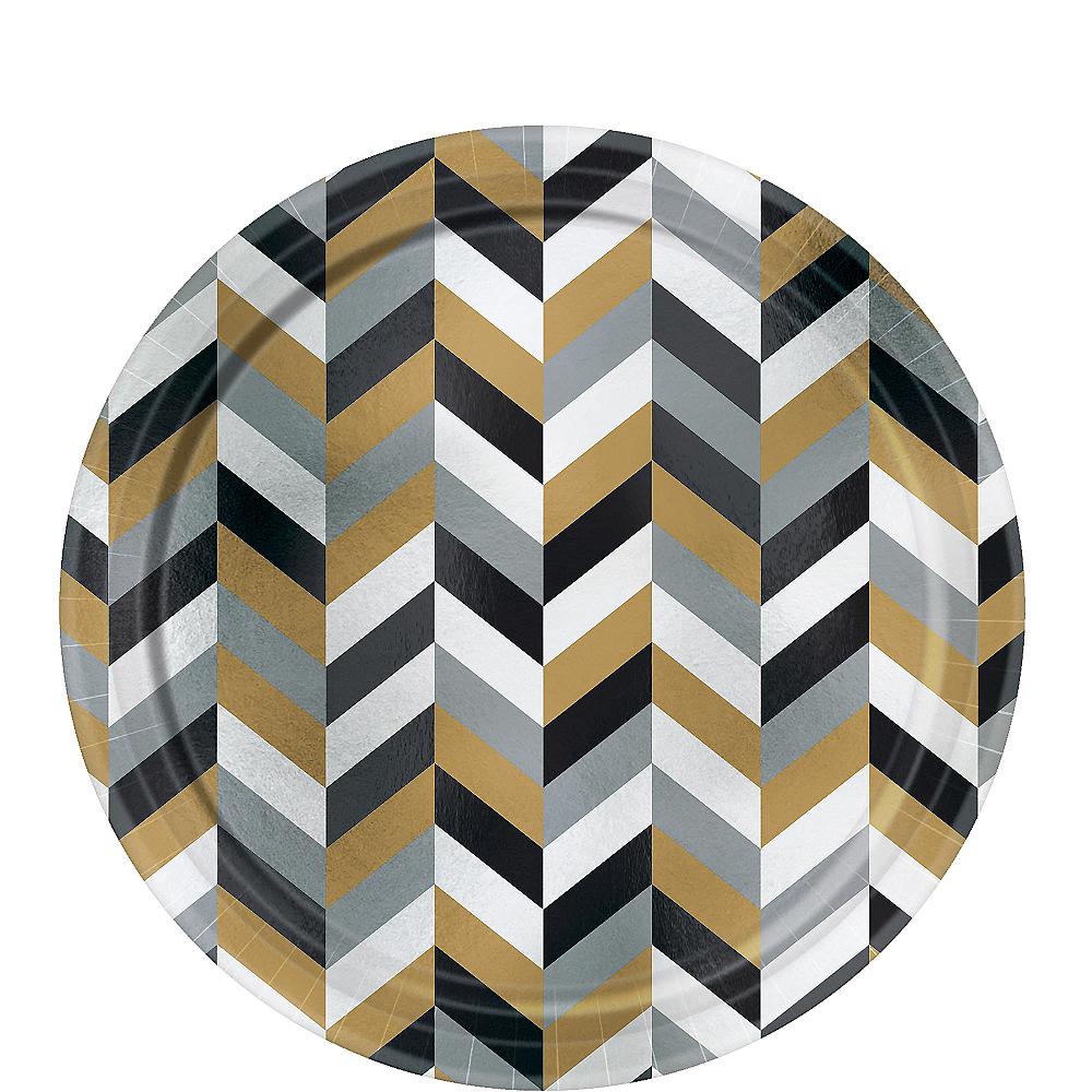 Metallic Black, Gold & Silver Herringbone Dessert Plates 8ct Image #1