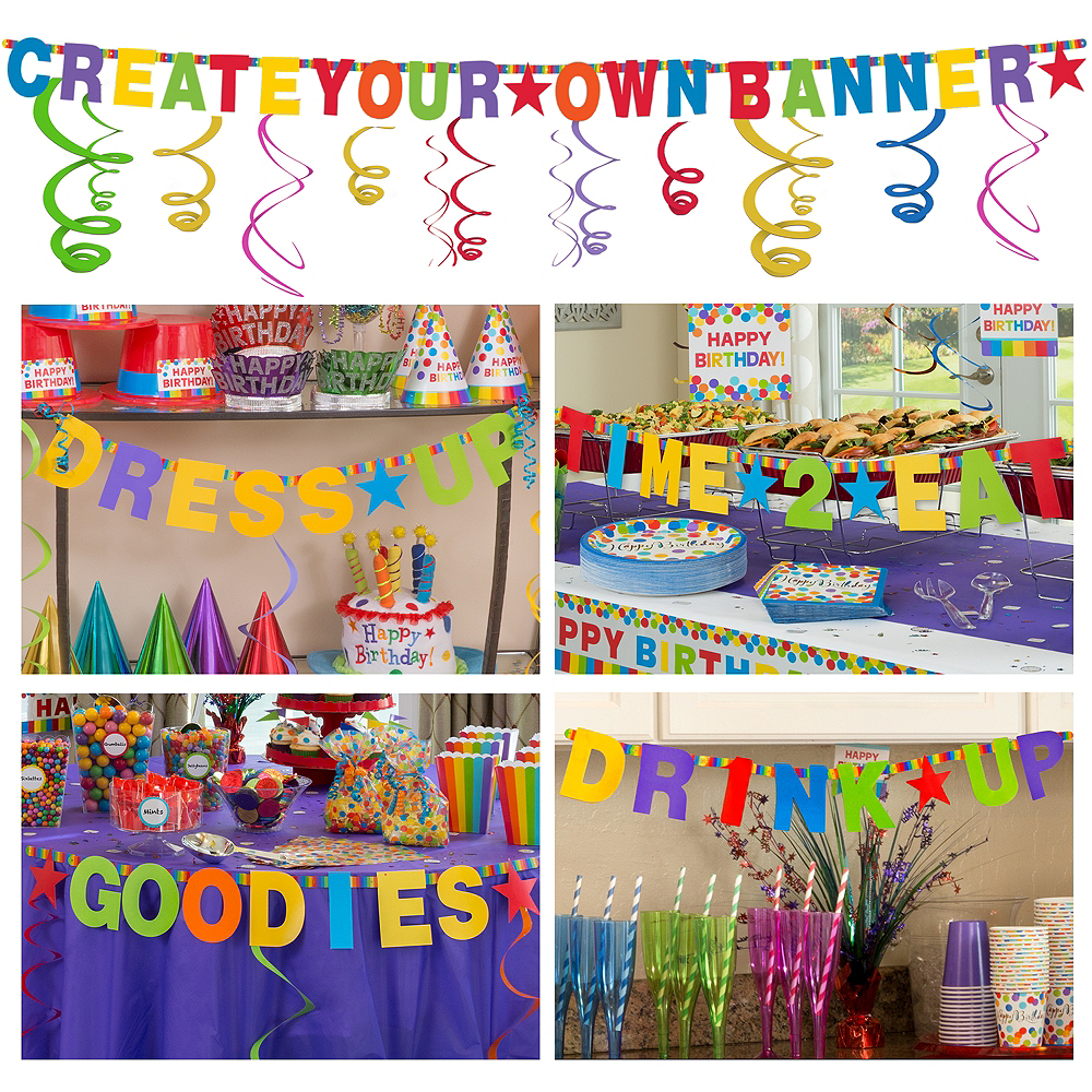 rainbow create your own banner kit birthday decorations party city
