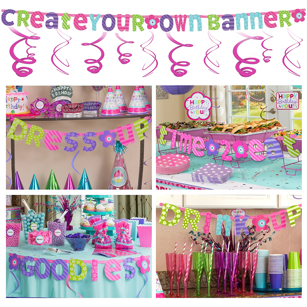 pastel create your own banner kit birthday decorations party city