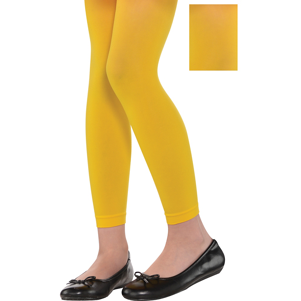 Child Yellow Footless Tights Image #1