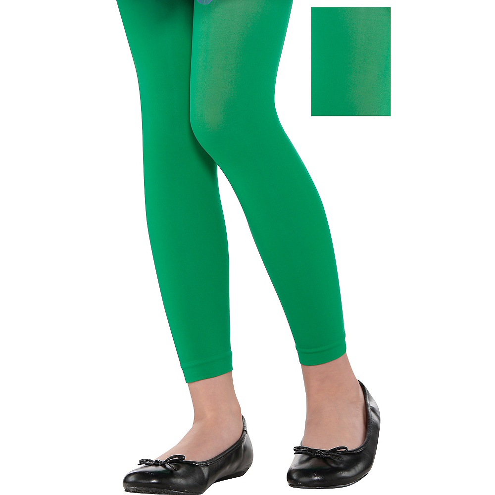 Child Green Footless Tights Image #1