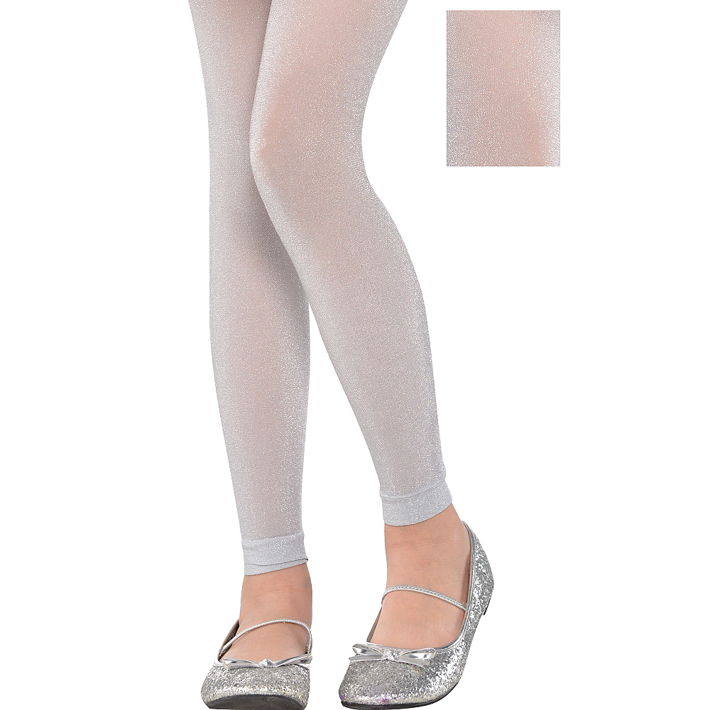 Child Silver Footless Tights Image #1