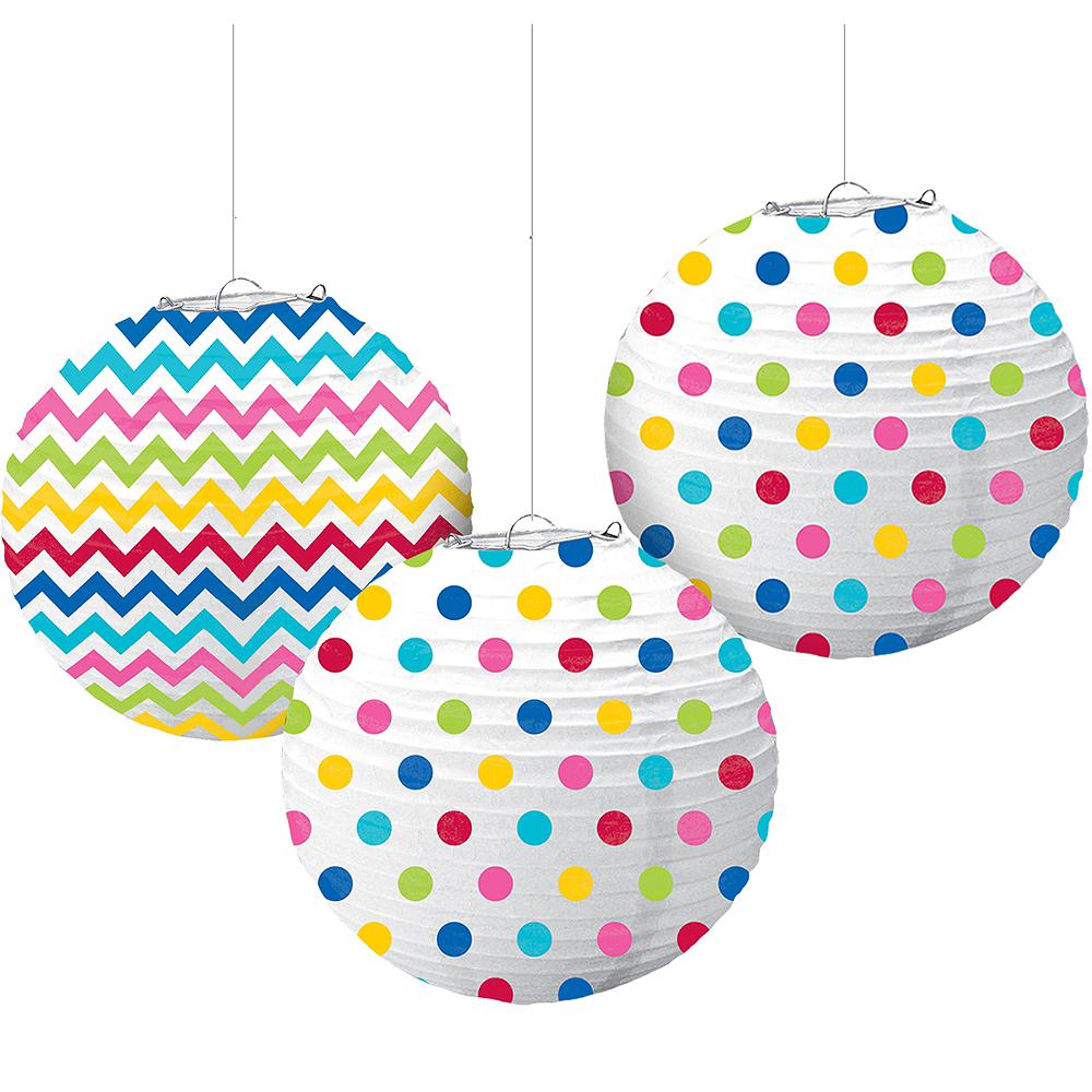 Bright Rainbow Polka Dot & Chevron Paper Lanterns 3ct Image #1