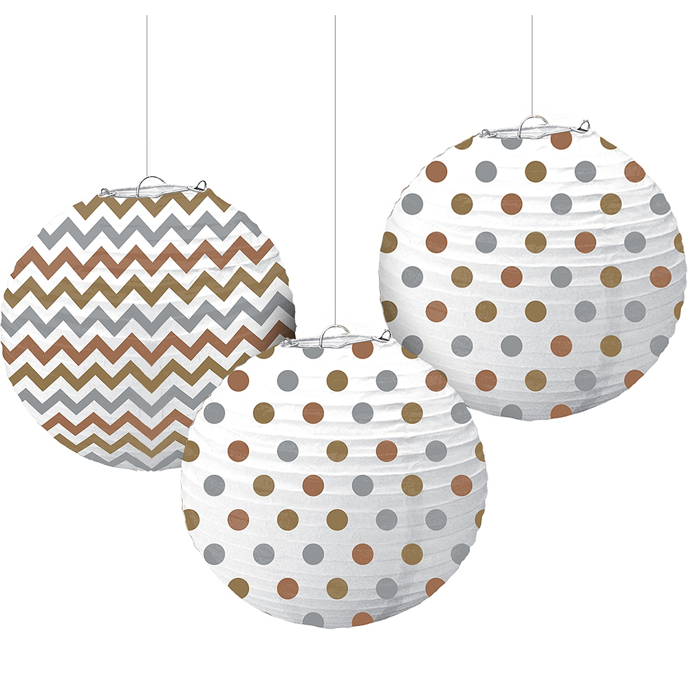 Metallic Polka Dot & Chevron Paper Lanterns 3ct Image #1