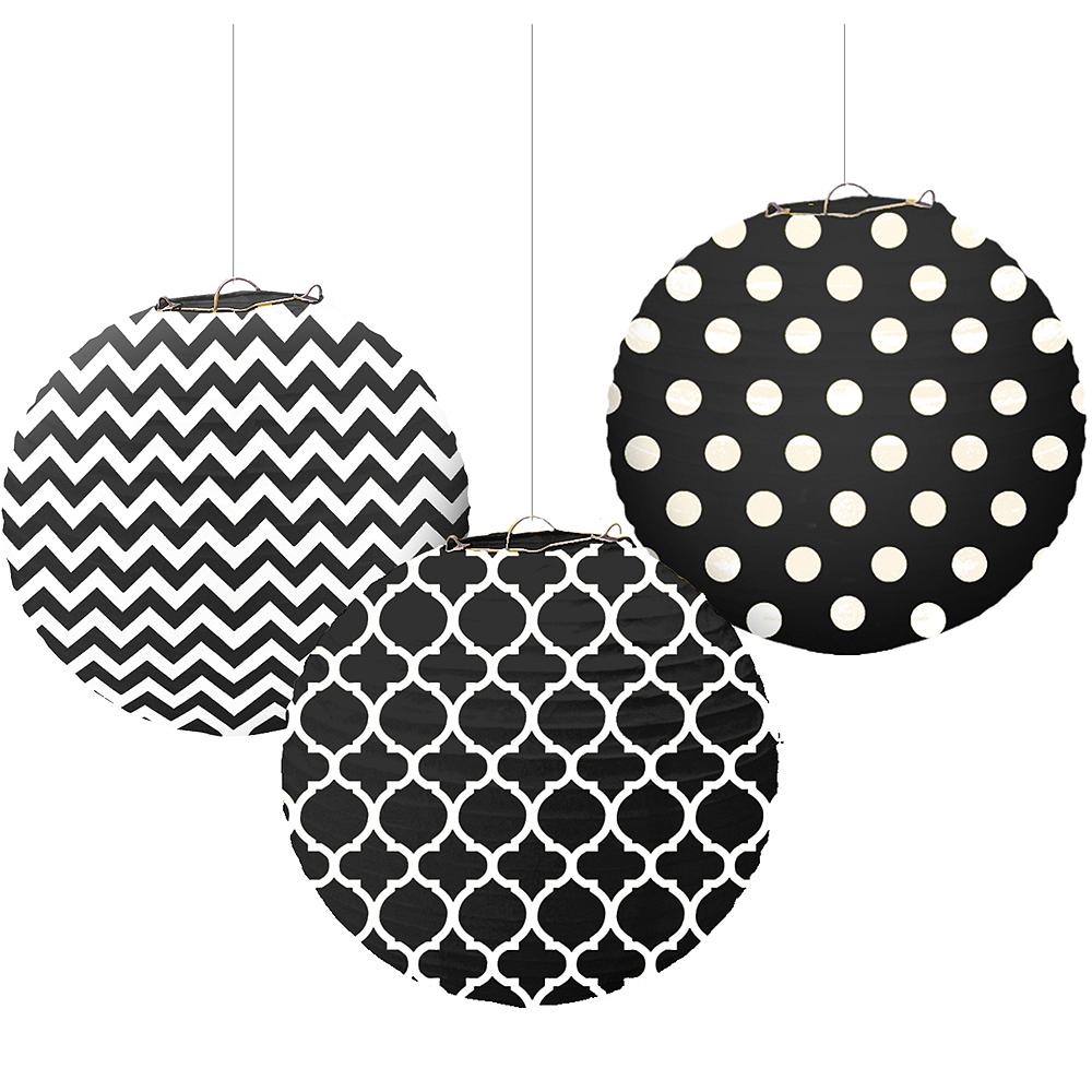 Black Patterned Paper Lanterns 3ct Image #1