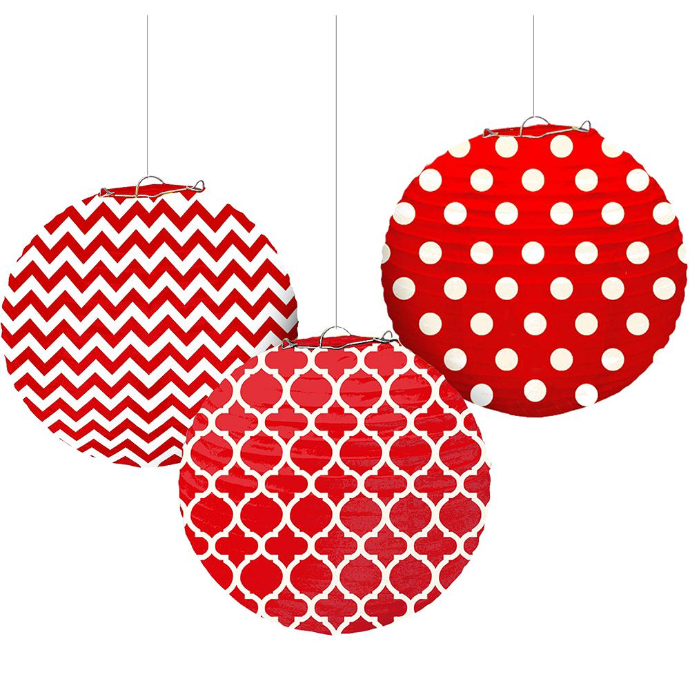Red Patterned Paper Lanterns 3ct Image #1