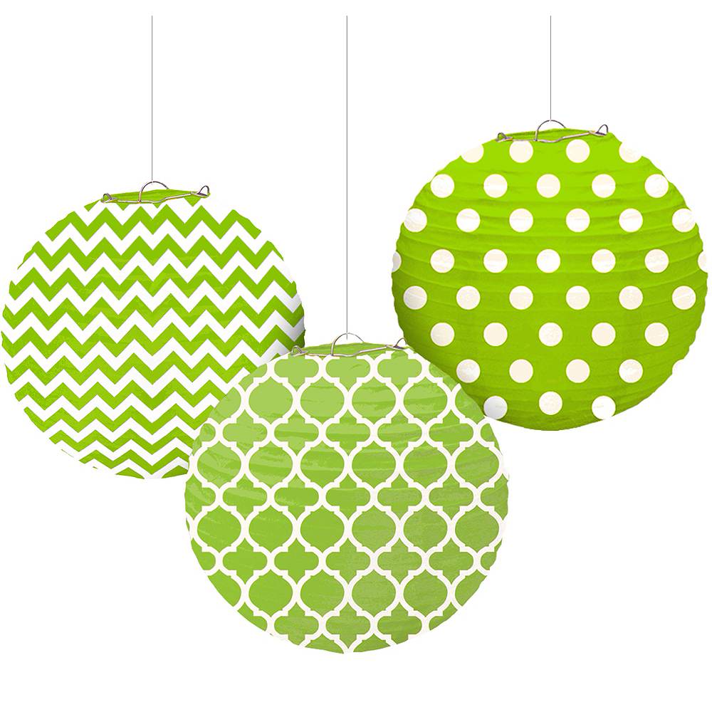 Kiwi Green Patterned Paper Lanterns 3ct Image #1