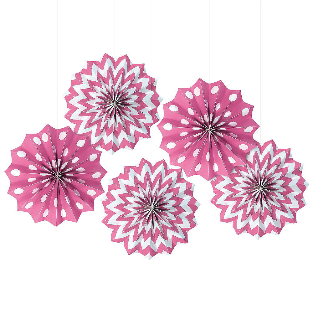 Bright Pink Polka Dot & Chevron Mini Paper Fan Decorations 5ct Image #1