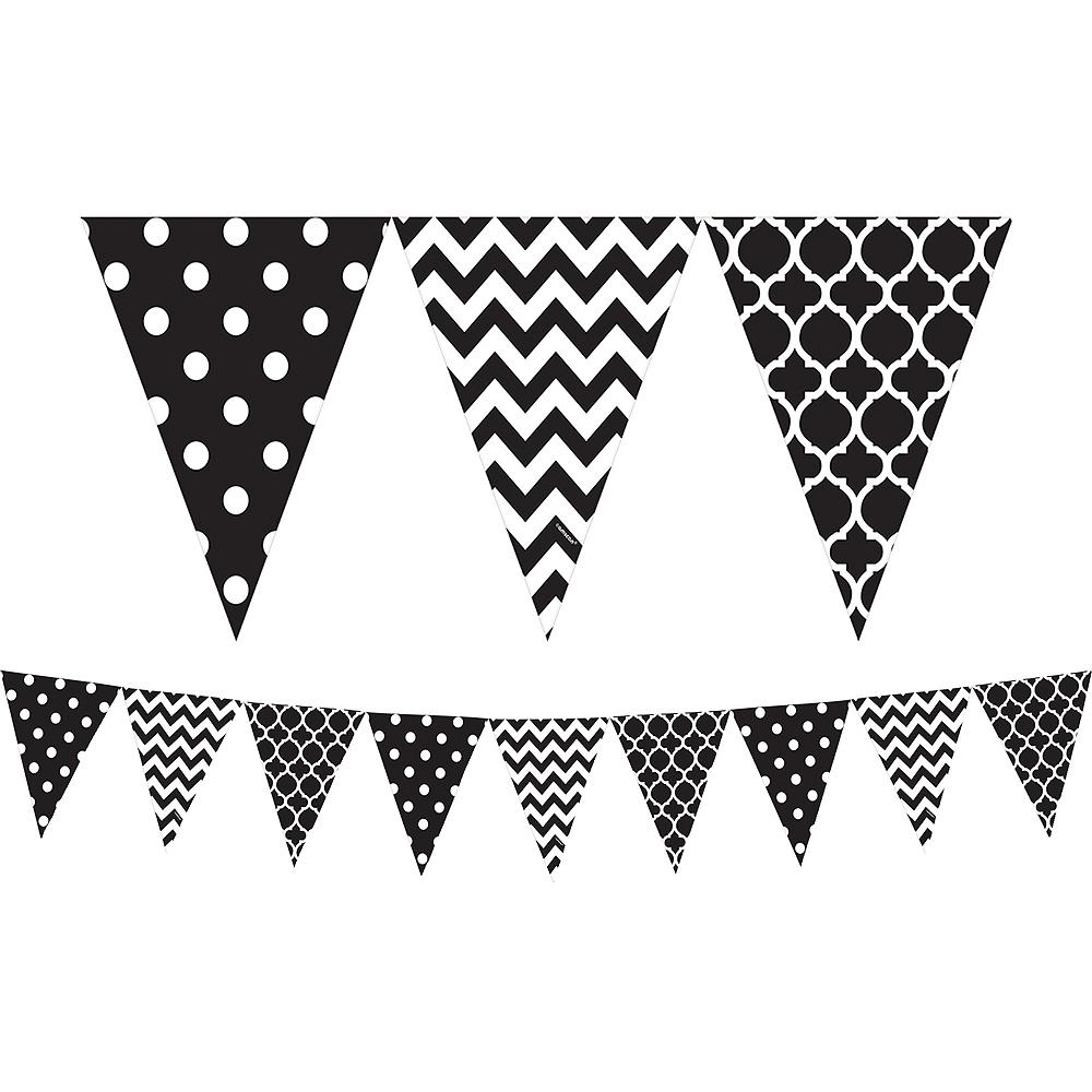 Black Patterned Pennant Banner Image #1