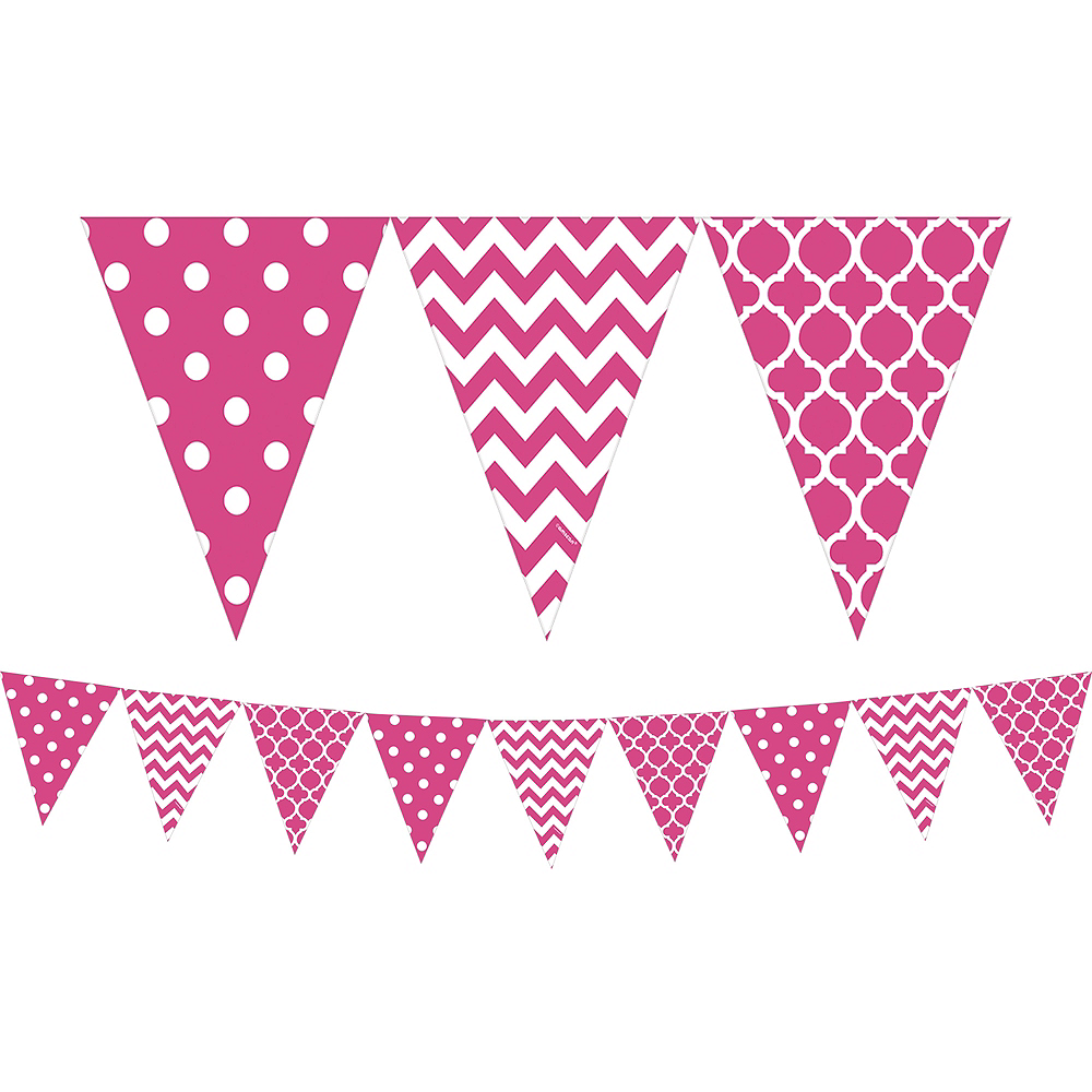 Bright Pink Patterned Pennant Banner Image #1