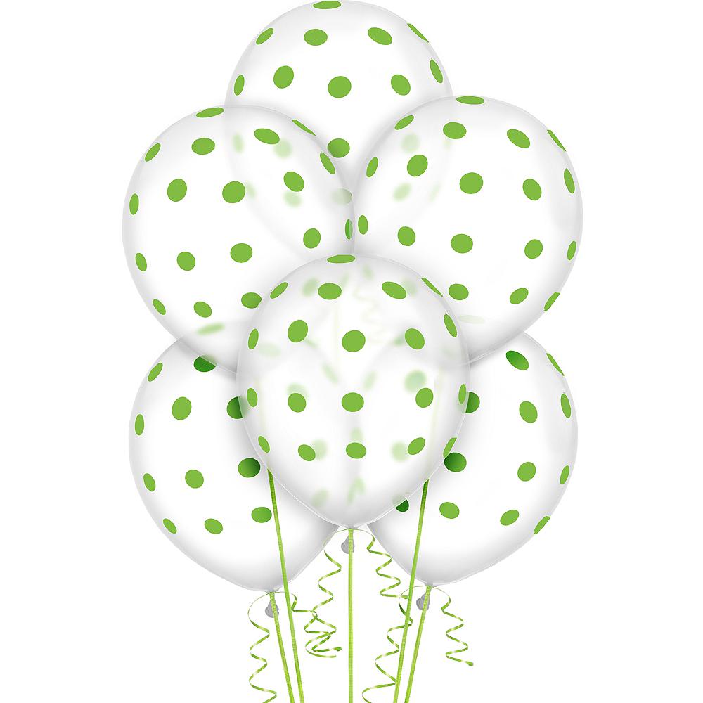 Transparent & Kiwi Green Polka Dot Balloons 20ct Image #1