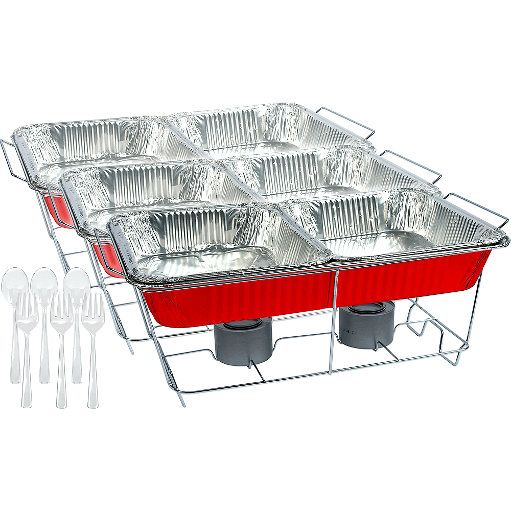 Red Chafing Dish Buffet Set 24pc Image #1