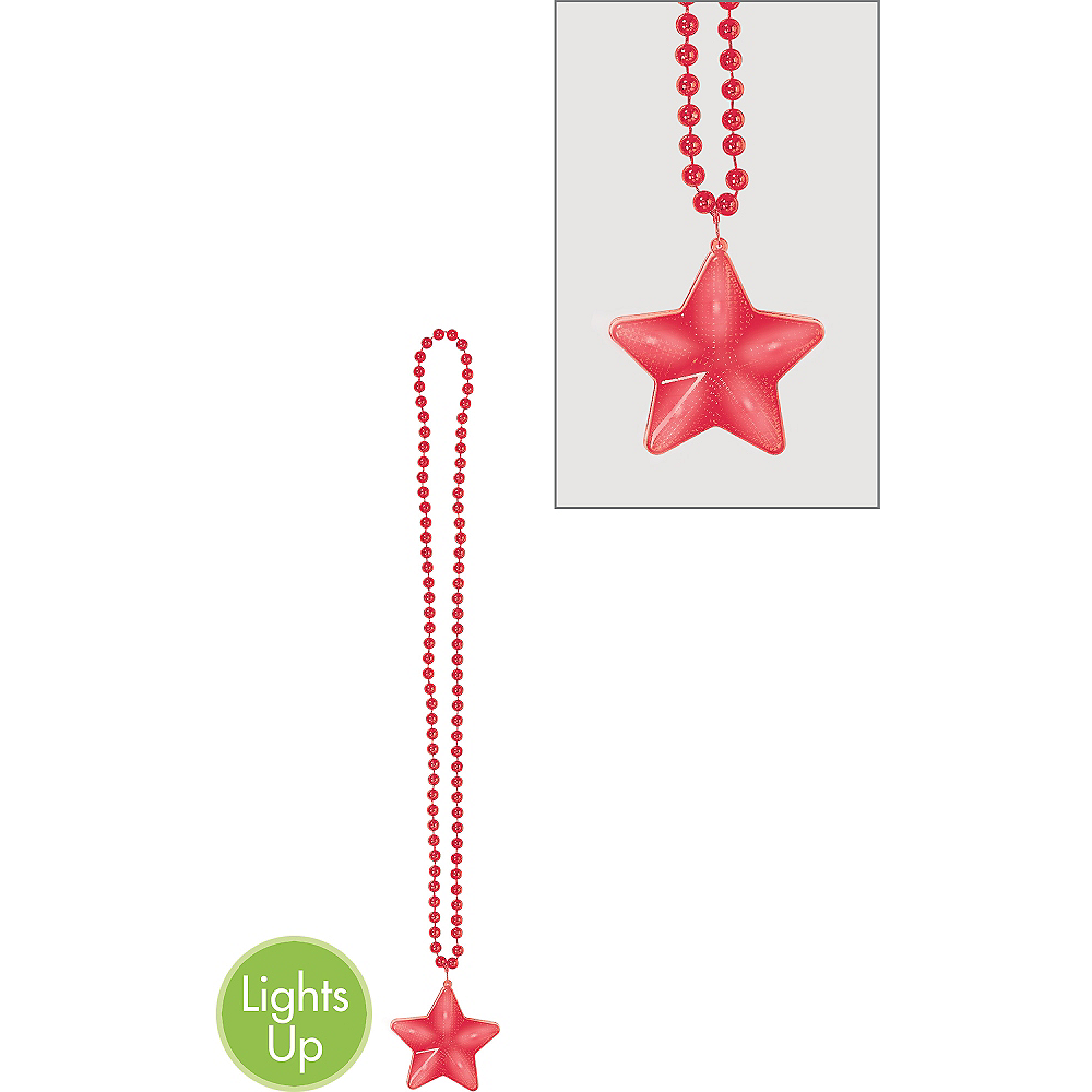 Light-Up Red Star Pendant Bead Necklace Image #1