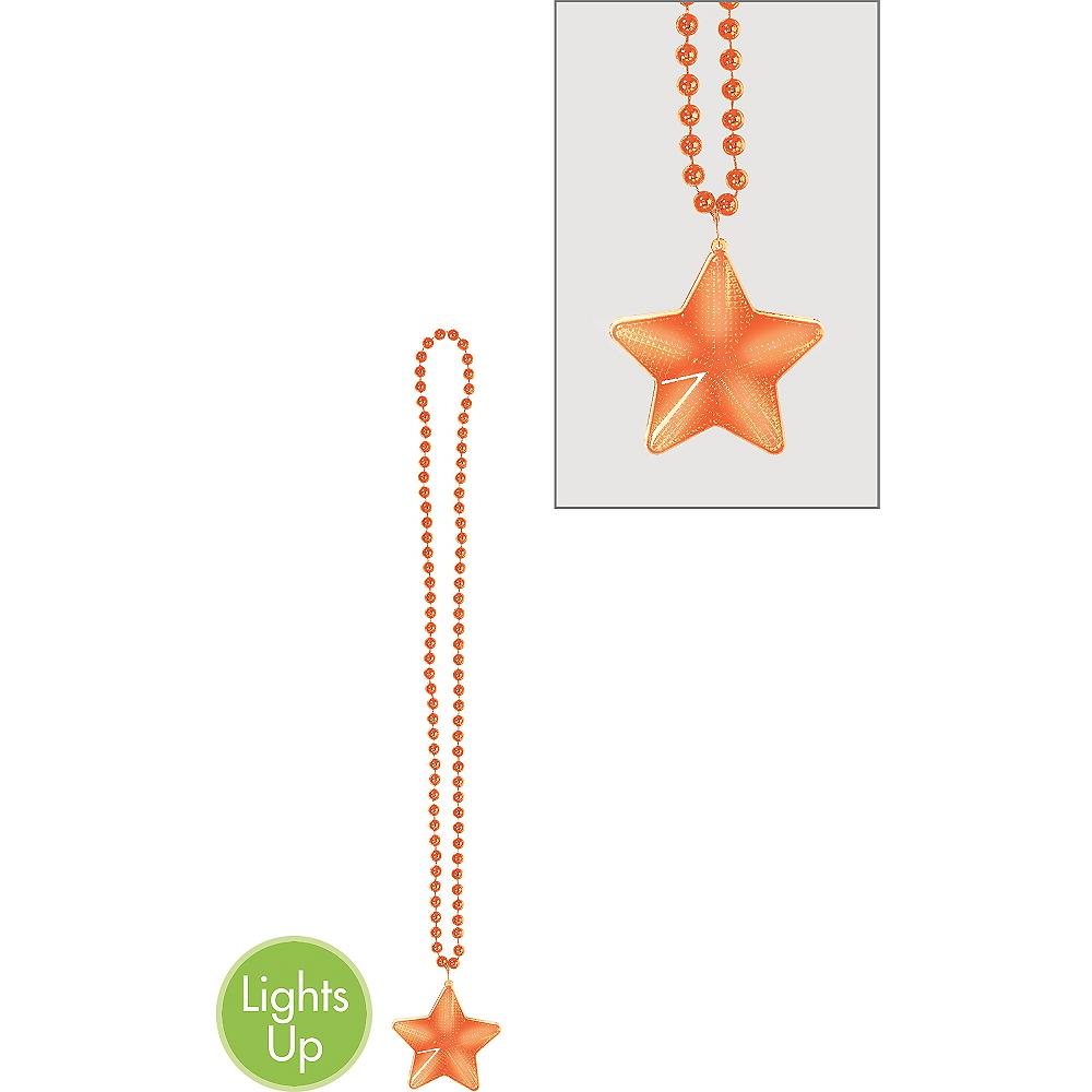 Light-Up Orange Star Pendant Bead Necklace Image #1