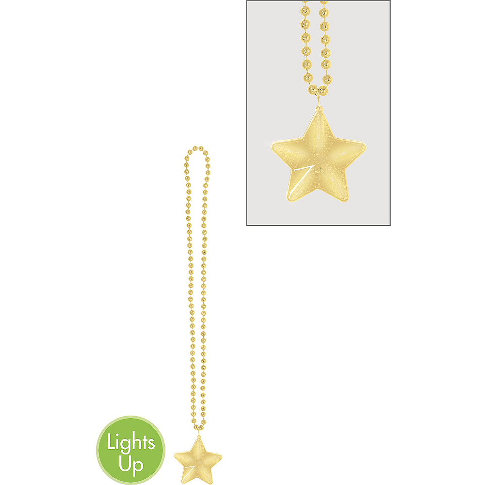 Light-Up Gold Star Pendant Bead Necklace Image #1