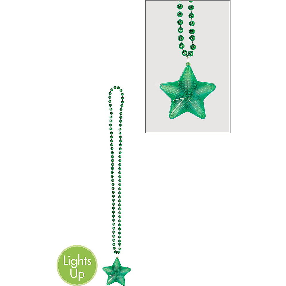 Light-Up Green Star Pendant Bead Necklace Image #1